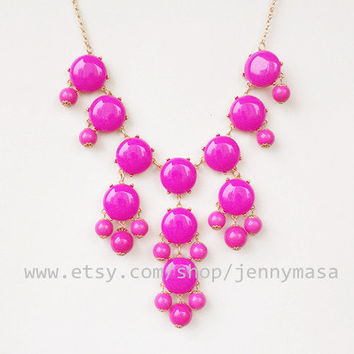 SALE - Fuchsia Bubble Bib Statement Necklace bubble necklace,Beaded Jewelry,bridesmaid gift,wedding necklace with chain