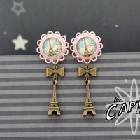 "Paris cabochon dangle plugs 14mm 9/16""  gauges stretched ears Eiffel Tower pink"