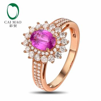 CaiMao 14KT/585 Rose Gold 1.22ct Natural Pink Sapphire 0.67ct Round Cut Diamond Engagement Gemstone Ring Jewelry