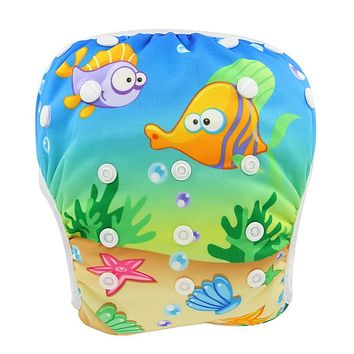 Washable Baby Cloth Diapers Animal Pattern Swim Diaper Cover Newborn Infant Diapers Waterproof Baby Swimming Nappy