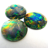 5 Green Fire Opal Small Resin Round Cabochon - 12mm Sparkly Rainbow 3D Layered Interior, Flat Backed Domed Rhinestone - Jewelry Supply