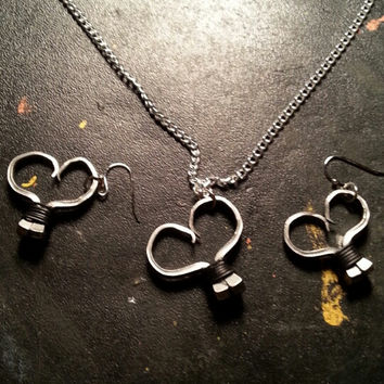 Black wire wrapped horseshoe nail heart necklace, earrings, or necklace and earrings set jewelry