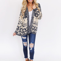 Navy/Taupe Open Sweater
