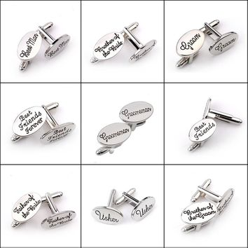 New wedding role letter cufflinks personality name groom men, friends forever, meet brother, groom, Brother of the Bride cuff
