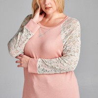 Plus Size Tarin Lace Sleeve Contrast Top