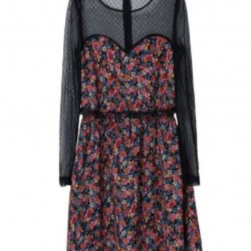 Mesh and Floral Dress