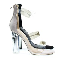 Mono10 By Wild Diva, Perspex Round Block Heel Sandal w Clear Triple Strap. Transparence Lucite