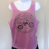 Vintage Awesome 1993 ALASKA MOTORCYCLE RACING Fairbanks Graphic Beach Hip Unisex Small Medium Cotton Tank Top