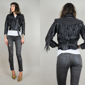 Best Fit 80's fringe LEATHER MOTORCYCLE jacket black biker coat Genuine cropped xxs / xs