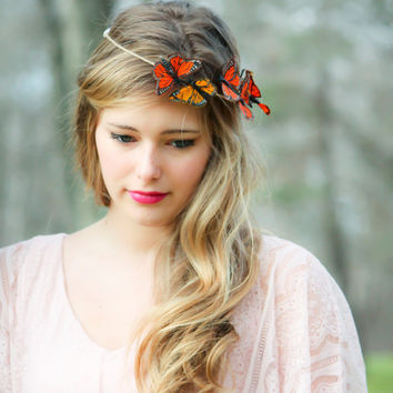 Gold and Red Monarch Butterfly hair crown, butterfly hair crown