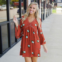 Nine Sleeves Hollow Out Floral  Print Dress B0013788