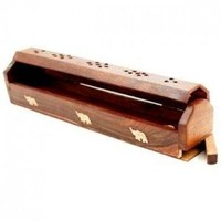 "Wooden Incense Burner 12"" Coffin box Elephant print for sticks & cones"