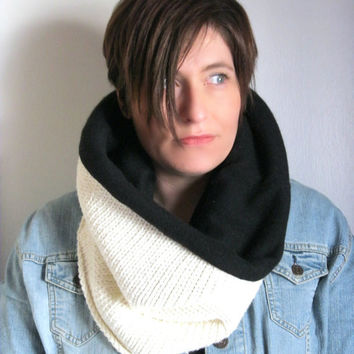 Black and Cream Infinity Scarf in Cotton and Cashmere Snood   : Upcycled Recycled Repurposed Eco Friendly