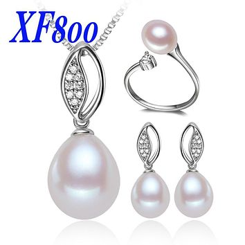 XF800 NEW Arrival natural pearl freshwater pearl Jewelry set  ,8-9mm pearl  necklace pendant earrings & ring   S-01