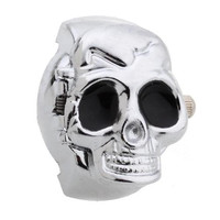 Alloy Quartz Movement Finger Ring Watch Skull Cover with Black Eyes Fashion