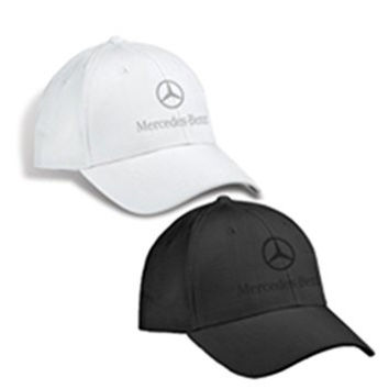 Genuine Mercedes Benz Plaid Patterned Structured Baseball Cap Hat - BLACK