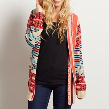 Coral-Tribal-Print-Knit-Cardigan