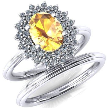 Eridanus Oval Lab-Created Yellow Sapphire Cluster Diamond Halo Wedding Ring