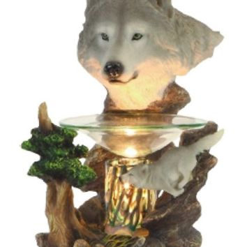 White Wolf Head Table Fragrance Aroma Lamp Oil Diffuser Wax Tart Candle Warmer Burner Home Decor