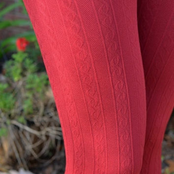 Warm In Christmas Red Cable Knit Leggings