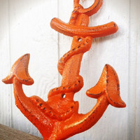 BOLD sunset orange NAUTICAL anchor hook // wall coat hook // sailor beach house decor // SHABBY cottage chic // cast iron