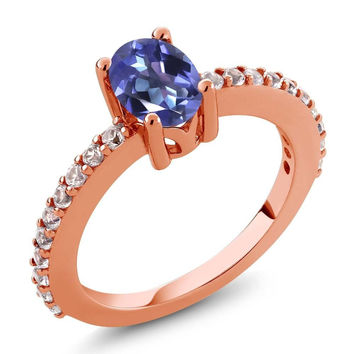 Blue Mystic Topaz and White Created Sapphire 18K Rose Gold Plated Silver Ring