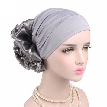 Winter Beanie Hat Women Cancer Chemo Hat Turban Head Wrap Cap Solid Fitted Big Flower Hat Feminino Beanies Hat