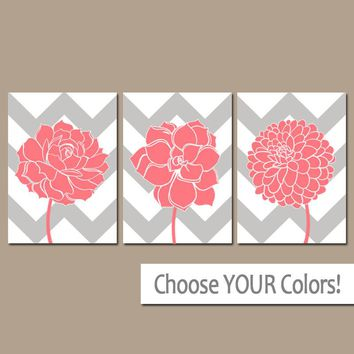 Coral Gray Bathroom Decor, CHEVRON Flower Wall Art, CANVAS or Prints, Coral Bedroom Wall Decor, Succulent Flower Dahlia Set of 3 Home Decor