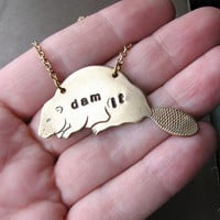 dam beaver necklace  hand stamped brass by friendlygesture on Etsy