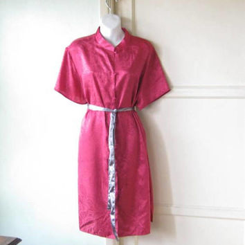 Cherry Red Asian/Cheongsam-Inspired Robe; Women's XS/Size 16 Long Sleeve Lounge/Boudoir Robe; U.S. Shipping Included