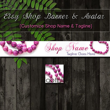 Etsy Shop Banner and Matching Avatar - Premade Pink Jewelry Beads - Customize Shop Name and Tagline - Graphic Design Service - Pink Beads
