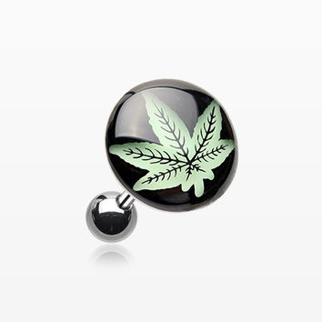 Glow in the Dark Cannabis Weed Cartilage Earring