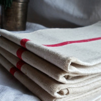Tea Towel Vintage Set of 4 French Trochon with traditional red stripes farmhouse cuisine stylish and sturdy Rustic Farmhouse