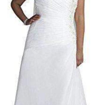 David's Bridal Sample: One Shoulder Chiffon Gown With Floral Appliques Style AI13012376.