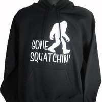 Hoodie Gone Squatchin' Sasquatch Big Foot Funny Humor Hunting Black (Medium)