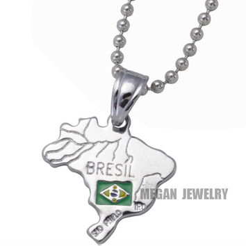 Silver Plated Brazil Map Pendant Necklace