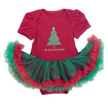 Green Tree Christmas Costumes for Kids Party Dresses Vestido Bebe Lace Tutu Red Christmas Dress Infant-Clothing Baby-Clothes