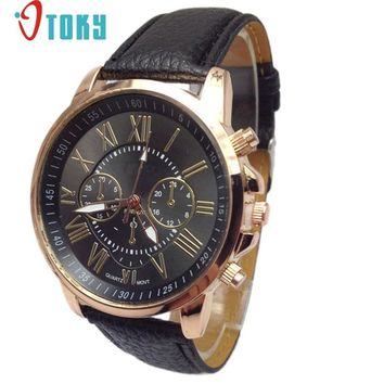 Hot hothot watch men Luxury Fashion Faux Leather Blue Ray Glass Quartz Analog Watches Casual Cool Brand fe1
