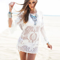 New Latest Lace Sheer Women's Swimwear Cover-Ups Crochet White Tunic Swim Cover Up Sexy Beach Top Blouse