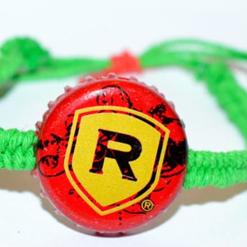 Redds Apple Ale Recycled Beer Bottle Hemp Cap Bracelet Green Hemp String