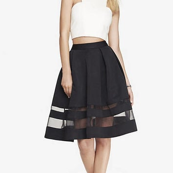 HIGH WAIST ORGANZA INSET MIDI SKIRT from EXPRESS