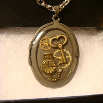 Upcycled Locket Necklace with Gears , Key and Tiny Pocket Watch set in Ice Resin (1019)