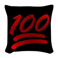 one hundred emoji Woven Throw Pillow