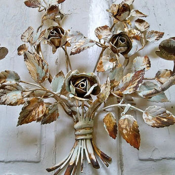 Antique French provincial wall candelier tole roses large shabby chic wall sconce Anita Spero