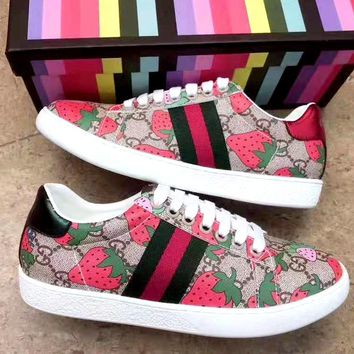 Free Shipping-Gucci Strawberry Print Women's Casual Shoes