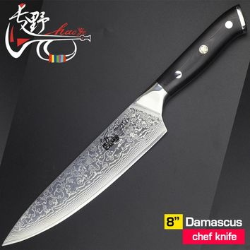 8 inch damascus chef knife vg10 steel Japanese high quality kitchen kichen knives fish cooking slicer G10 handle premium 2017new