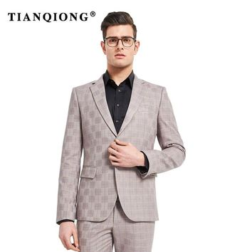 TIAN QIONG 2018 Talior Made Light Grey Groom Tuxedos for Wedding 2 Pieces Men Prom Party Suits Best Man Suit Casual Blazer Terno