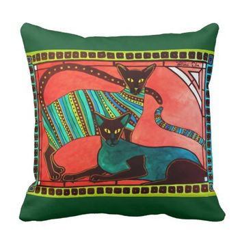 Legend of the Siamese - Whimsical Cat Art Throw Pillow