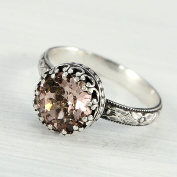 Silver ring with 8 mm Swarovski Blush Rose crystal, sterling silver, vintage ring, floral band, crown setting, antique style, pink ring