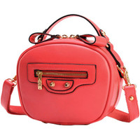 Watermelon Red Candy Color PU Leather Zippered Mini Shoulder Bag